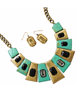 Green and Gold Tone Cleopatra Style Fashion Nec... - $34.98