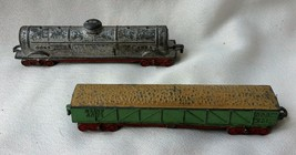 Pair of Vintage Tootsie Toy Train Cars Fuel Carrier & Open Box or Grain Car