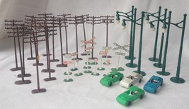 Vintage HO Scale Model Train 39 pcs Signs Telephone Poles Street Lights