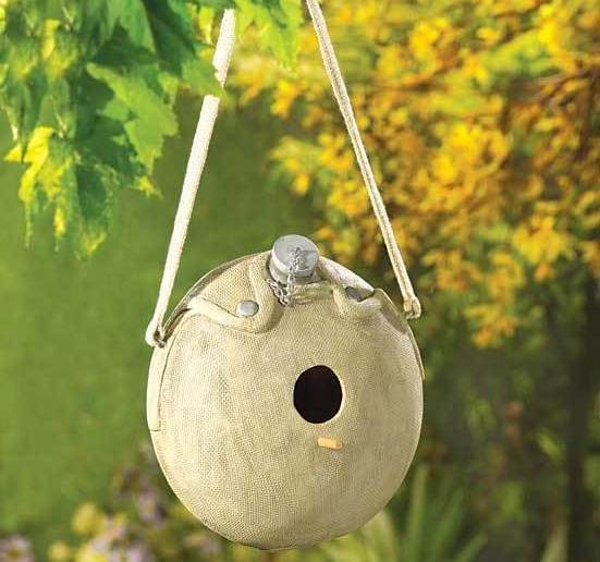 Let The Birds Play Army Canteen Birdhouse