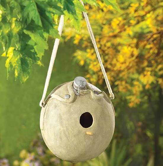 Image 1 of Let The Birds Play Army Canteen Birdhouse
