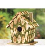 Moss-Edged Birdhouse Rustic Cordwood Style Cottage - $12.95