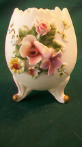 VINTAGE LEFTON CERAMIC EGG WITH FLOWERS, SCALLO... - $39.59