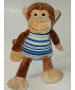Animal Alley Brown Monkey Blue White Stripe Kni... - $34.99
