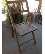 Antique Vintage oak Wood Wooden Slatted Folding... - $75.00