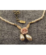 Pearl  Necklace with rose,1928 tag hangs 11 inc... - $24.95