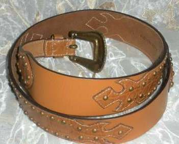 Chico& 39 s Large Ladies Genuine Leather Brown Tan Leather Belt
