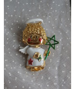 Curly Haired Angel Brooch Pin, Gold Toned Metal... - $7.99