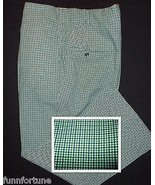 Vintage 1980's Plaid Pants Green White Check Po... - $24.70