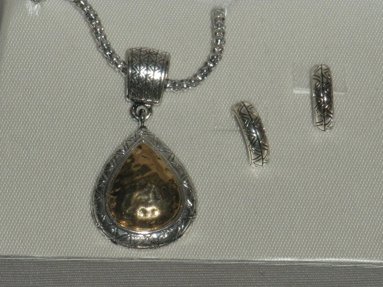 Roman 3 pc Gold Silver Tone Tear drop Jewelry Necklace and E