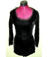 Hot 60's Vintage Mod Black Velvet Minidress Min... - $24.00
