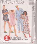 Sewing Pattern McCall's 7950 Men Women Sleepwea... - $2.99