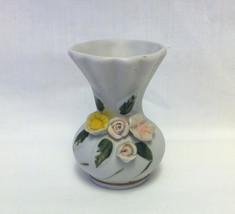 Vintage porcelain toothpick holder shabby flowe... - $4.00