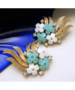 Crown Trifari Vintage 1960s White Turquoise Luc... - $79.18