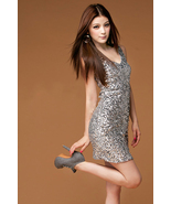 Glamorous Girl. Sexy Chic Sparkling Silver Sequ... - $63.00