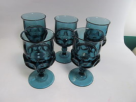 Kings Crown Smoky Blue Turquoise Glasses Goblet... - $44.55