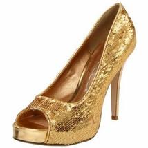 High Heel Gold Open Toe Glitter Pump Ellie Shoe... - $48.95