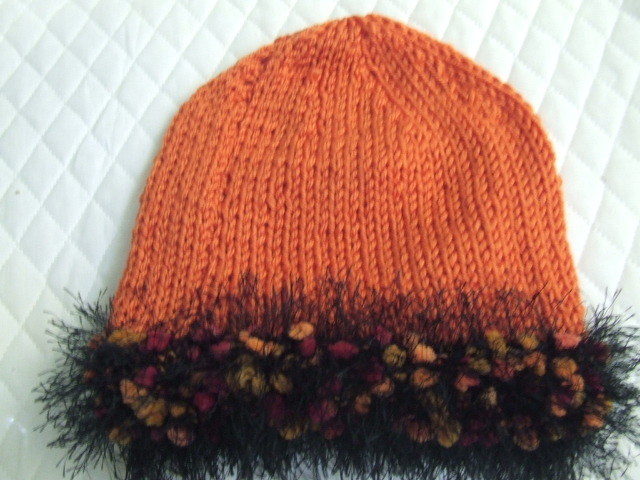 Handknit Hat Pumpkin Acrylic with Fun fur trim - Blue Ridge Mtns - Bonanzle :  stylish burnt orange fur