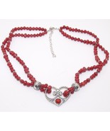 Red Coral Beads Sterling Silver Heart Necklace New - $39.99