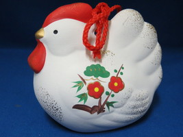 Chicken Hen Pottery Cow Bell Figural White Deco... - $16.98