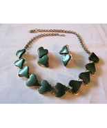 Vintage Lucite Necklace & Earrings Set, Dark Gr... - $15.99