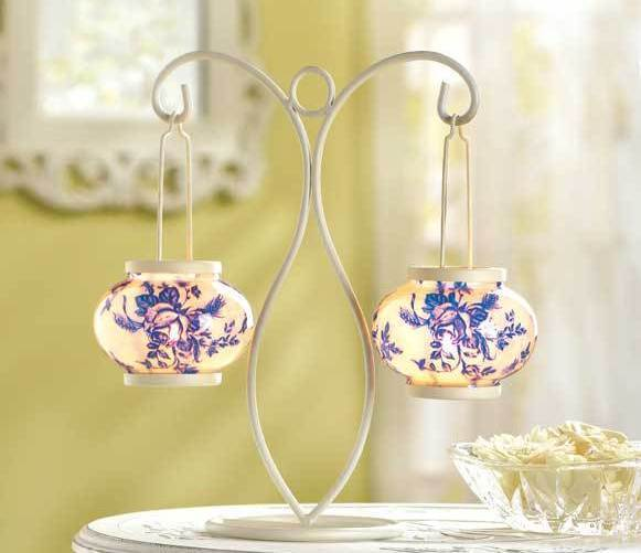 Blue and White Metal Candleholder W Glass Globes