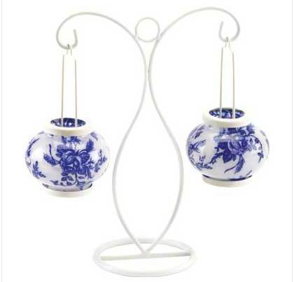 Image 1 of Blue and White Metal Candleholder W Glass Globes