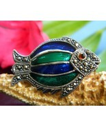 Tropical Fish Brooch Pin Marcasite Enamel Sterl... - $27.95