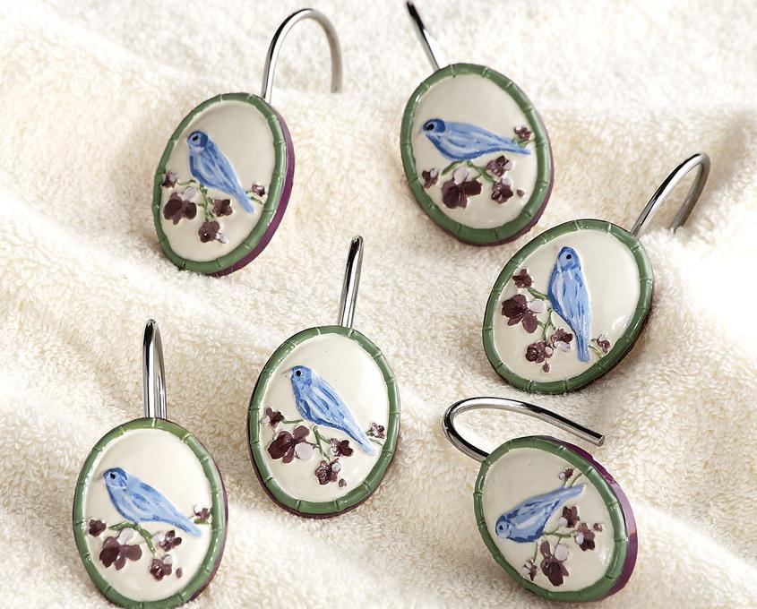 Botanical Bird Bathroom Shower Curtain Hooks
