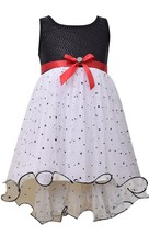 Bonnie Jean Little Girls 2T-6X Black White Sequin and Spangle Mesh Social Dress