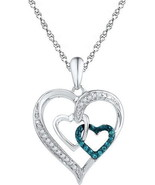 Mothers Day Gift .10 CT Real Diamond Pendant Wh... - $79.19
