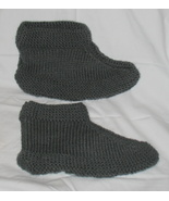 Hand Made Crocheted Gray Slippers/Booties Sz 9-12 - $15.00