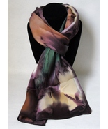 Hand Painted Silk Scarf Purple Green Amber Oblo... - $44.00