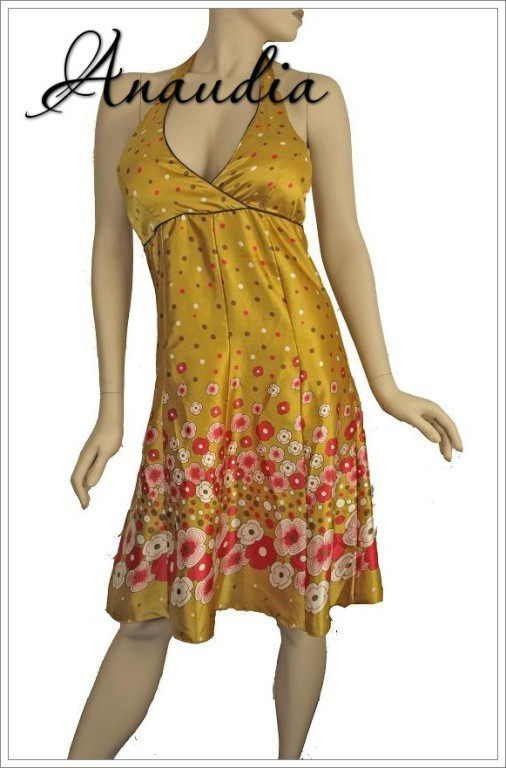 100% Indian Silk STUNNING SEXY Floral Halter Dress YELLOW GOLD RED Size Medium