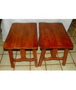 Pair Elm & Oak Ranch Style End Tables / Side Ta... - $499.00