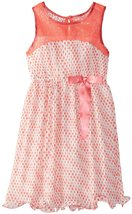 Tween Big Girls 7-16 Coral Illusion Sequin Dot Print Chiffon Social Party Dress