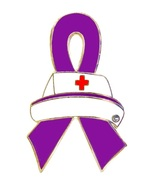 Pancreatic Cancer Lapel Pin Nurse Cap Purple Aw... - $10.97