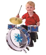 My FIRST DRUM SET Metal Drums Foot Pedal & Chai... - $51.29