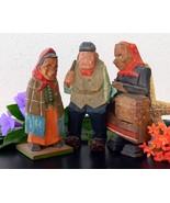 3 Vintage Folk Art Wood Old Peasant Woman Man H... - $89.95