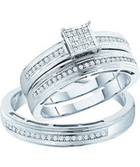 Ladies 0.25CT Real Diamond White Gold Fn Weddin... - $222.74