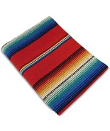 Southwest Afghan Throw Sarape Blanket Red Mexic... - €23,46 EUR