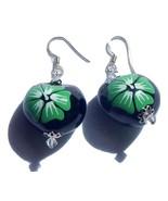 Hawaii Jewelry Kukui Green Hibiscus Flower Earr... - $14.99