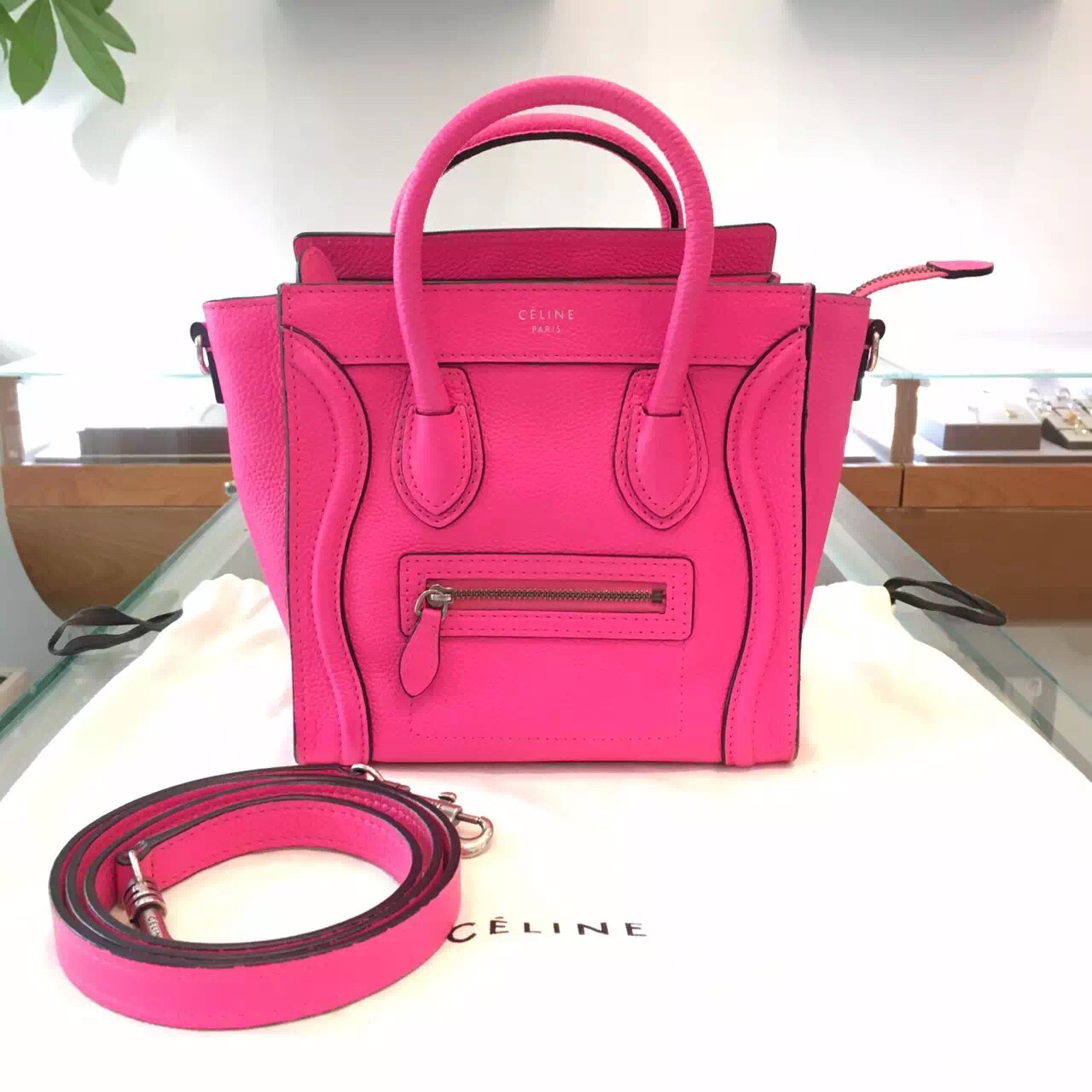 celine black leather bag - 100% Authentic Celine Nano Luggage Tote Bag Neon Pink Pebbled ...