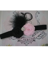 BABY GIRL BLACK HEADBAND WITH BLACK AND  PINK R... - $12.00