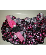 BABY GIRL SMALL BLACK RUFFLE BLOOMERS WITH PINK... - $14.00