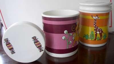 Vintage Goebel Set of Porcelain Cookie Candy Jars with Lids