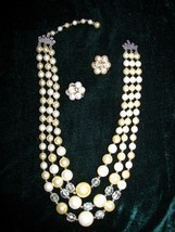 Vintage Triple Strand Aurora Borealis Crystal and Faux Pearl