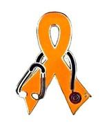 MS Multiple Sclerosis Pin Orange Awareness Ribb... - $10.97
