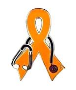 Skin Cancer Lapel Pin Orange Ribbon Stethoscope... - $10.97