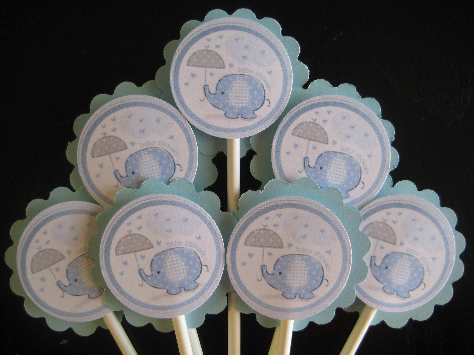 baby boy elephant baby shower cupcake toppers set of 24 candles